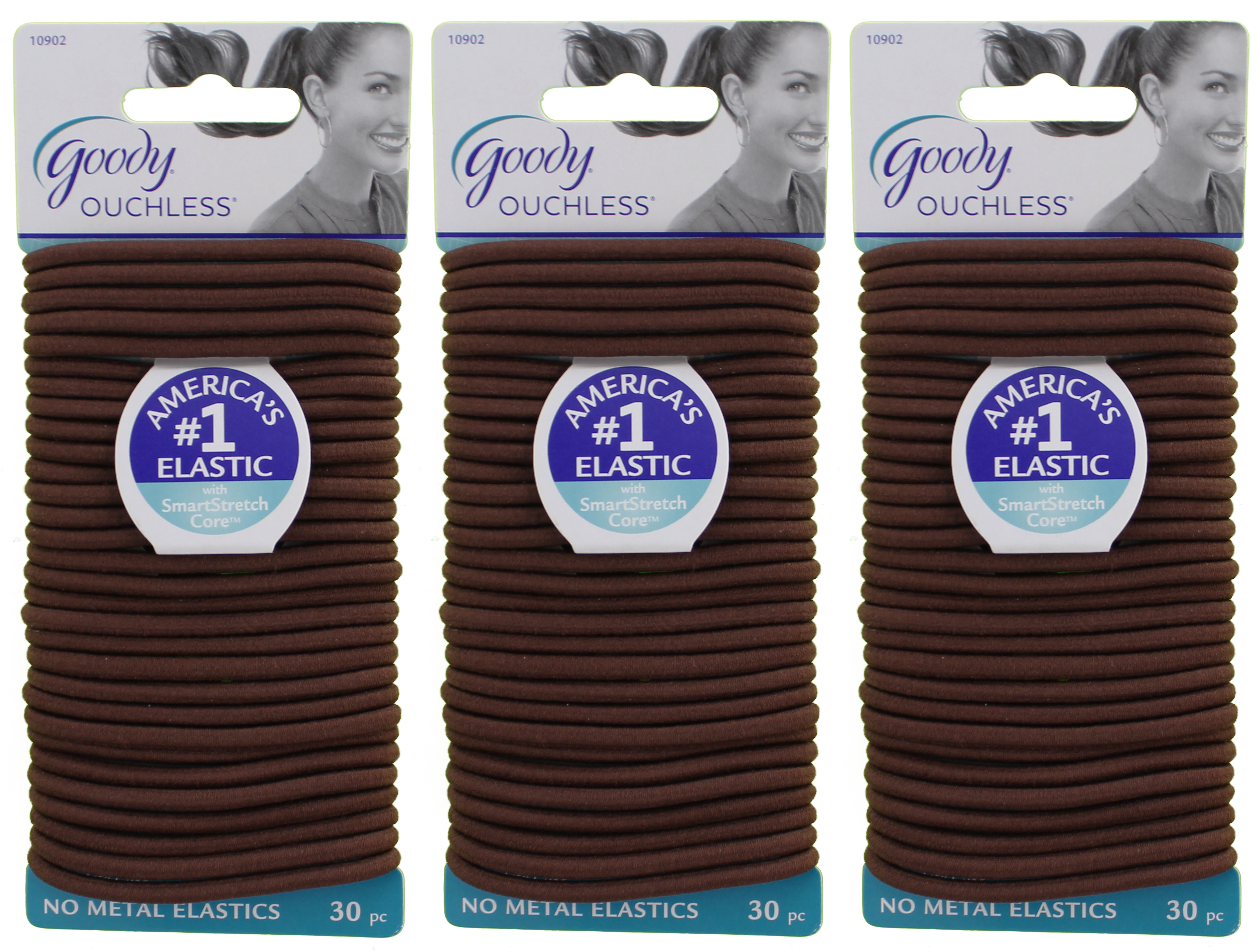 Goody Ouchless Braided Elastics, Brown, 30 Count