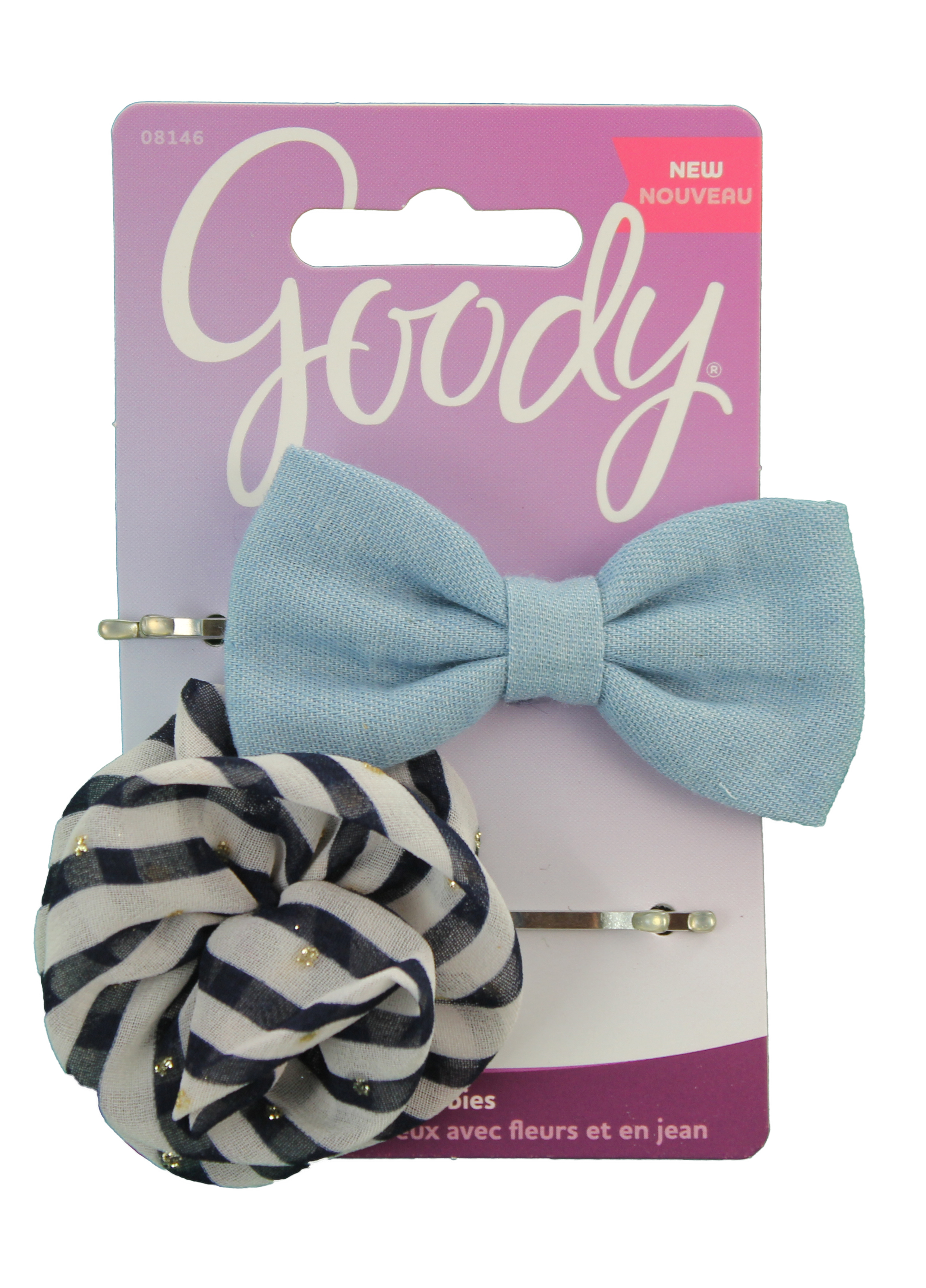 Goody Corporate FashionNow Denim Bow And Flower Bobby Slides, 2 Count