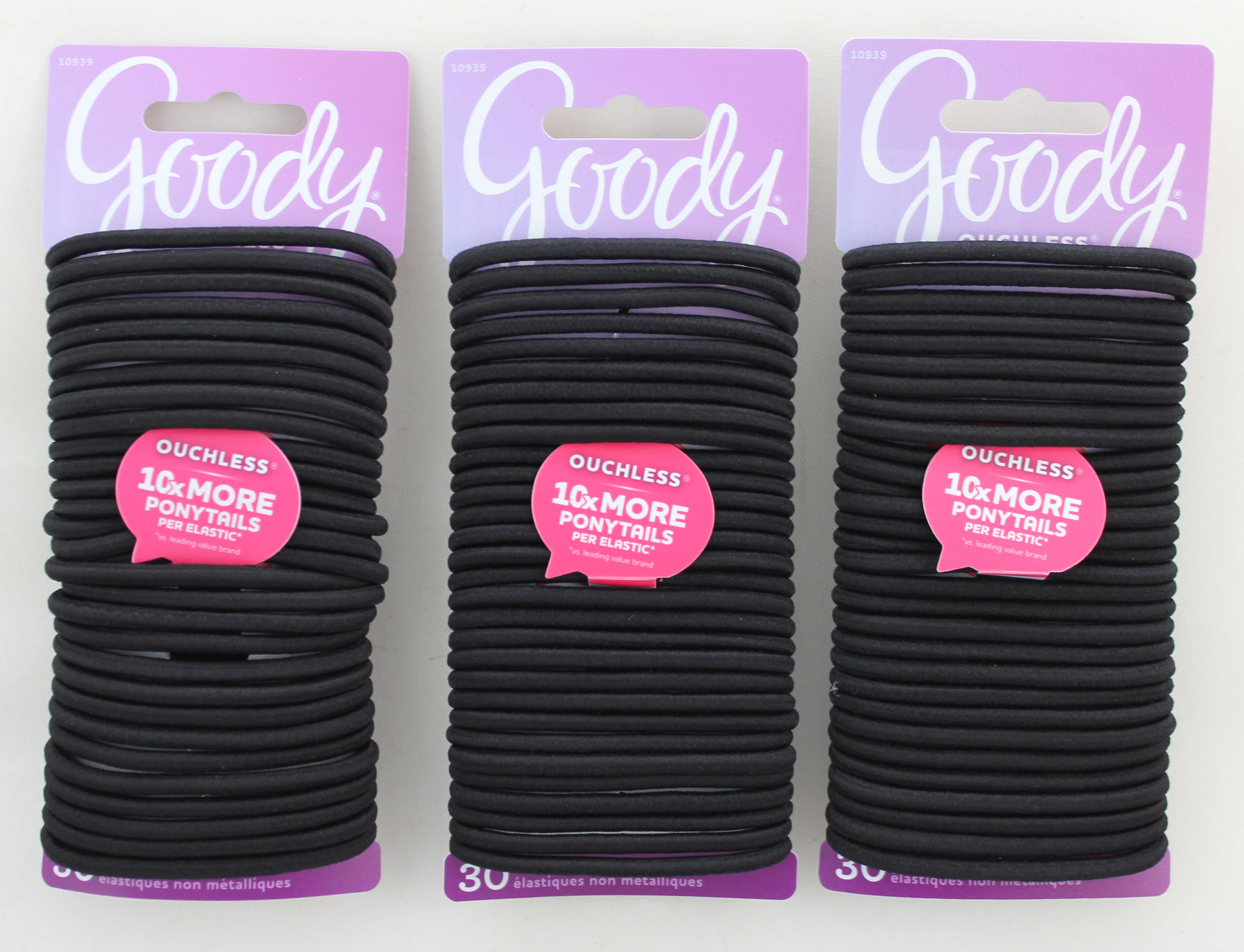 Goody Black Elastics 4MM, Ouchless, No Metal, Little Black Dress, 30CT