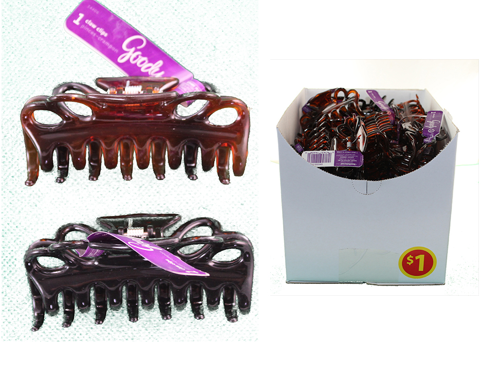Goody Shelf Box Large Claw Clip (Counter Display) Assorted 22 Black and 22 Tortoise / Brown Color