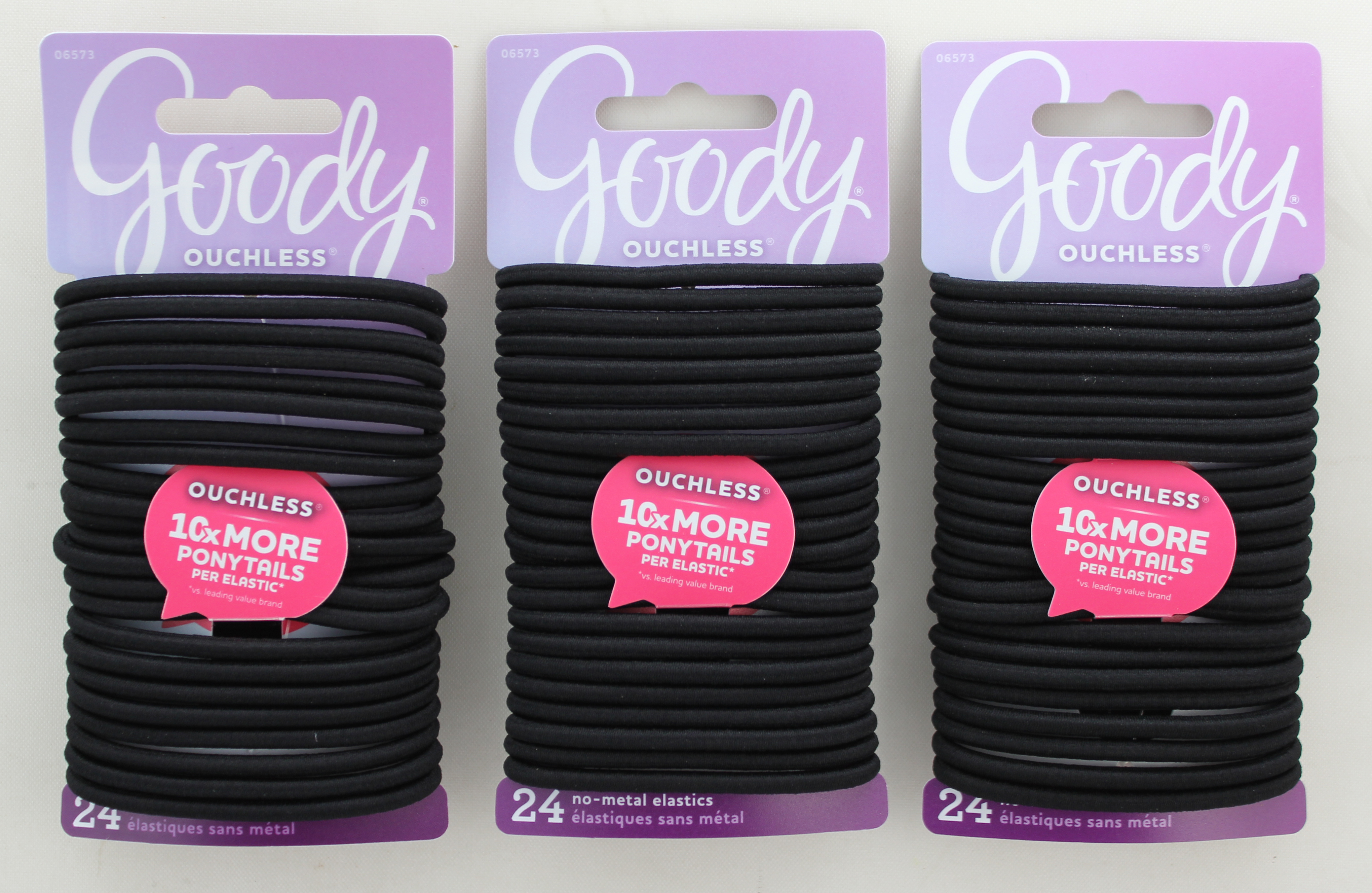 Goody Black Ouchless Elastics, 4MM, 24 CT