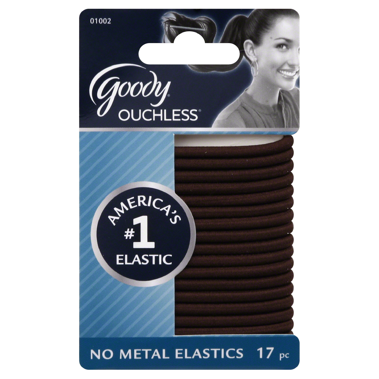 "Goody Brown Chocolate Cake 4MM Ouchless Elastics 5.5"" X-Thick 17 on Card"
