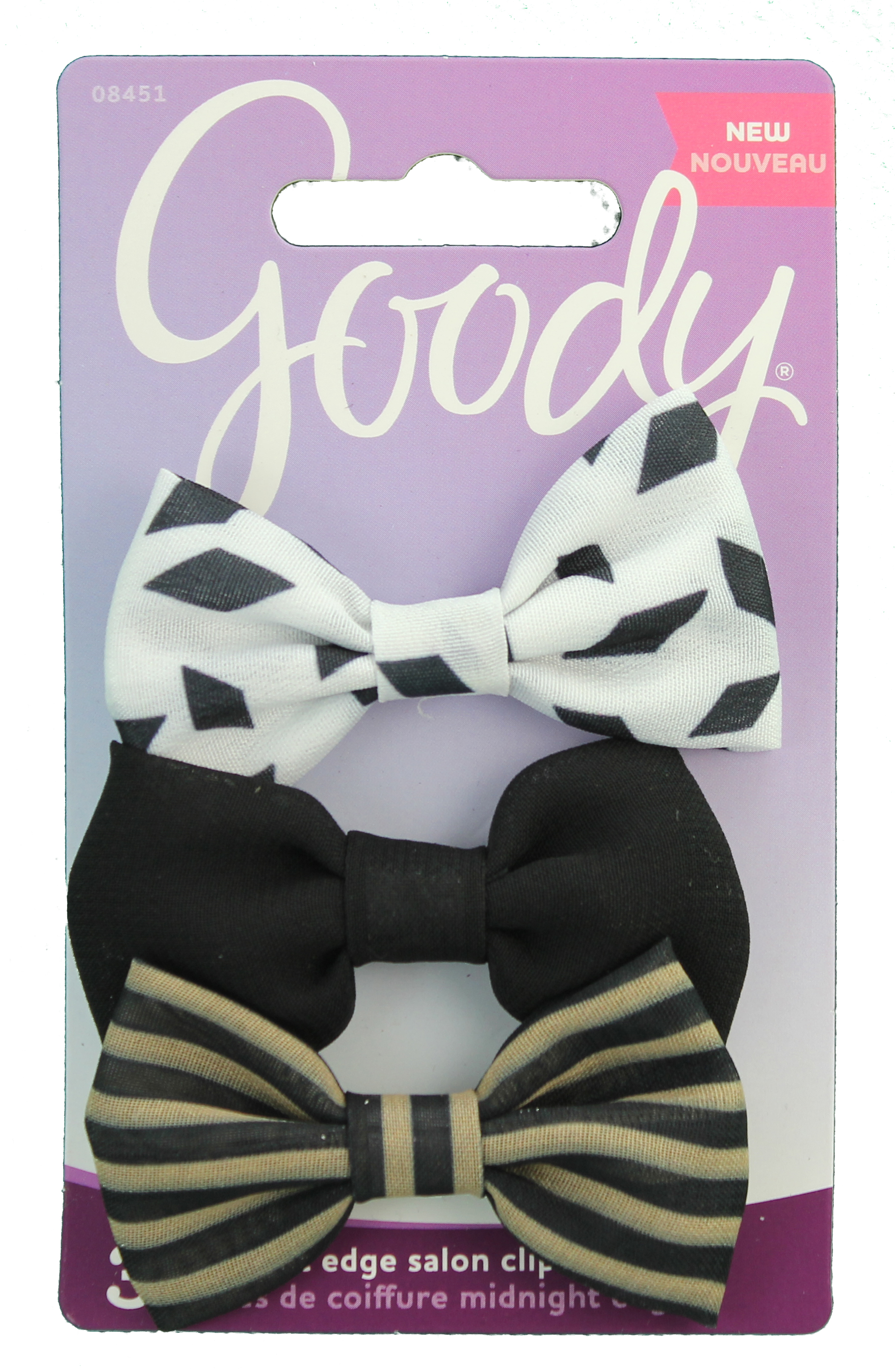 Goody Corporate Fashionow Midnight Edge Mixed Bow Salon Clips, 3 CT