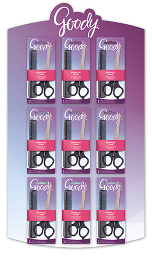 Goody Hair Cutting Shears & Comb Combo in Half Side Rack Display. 27 Packs per display