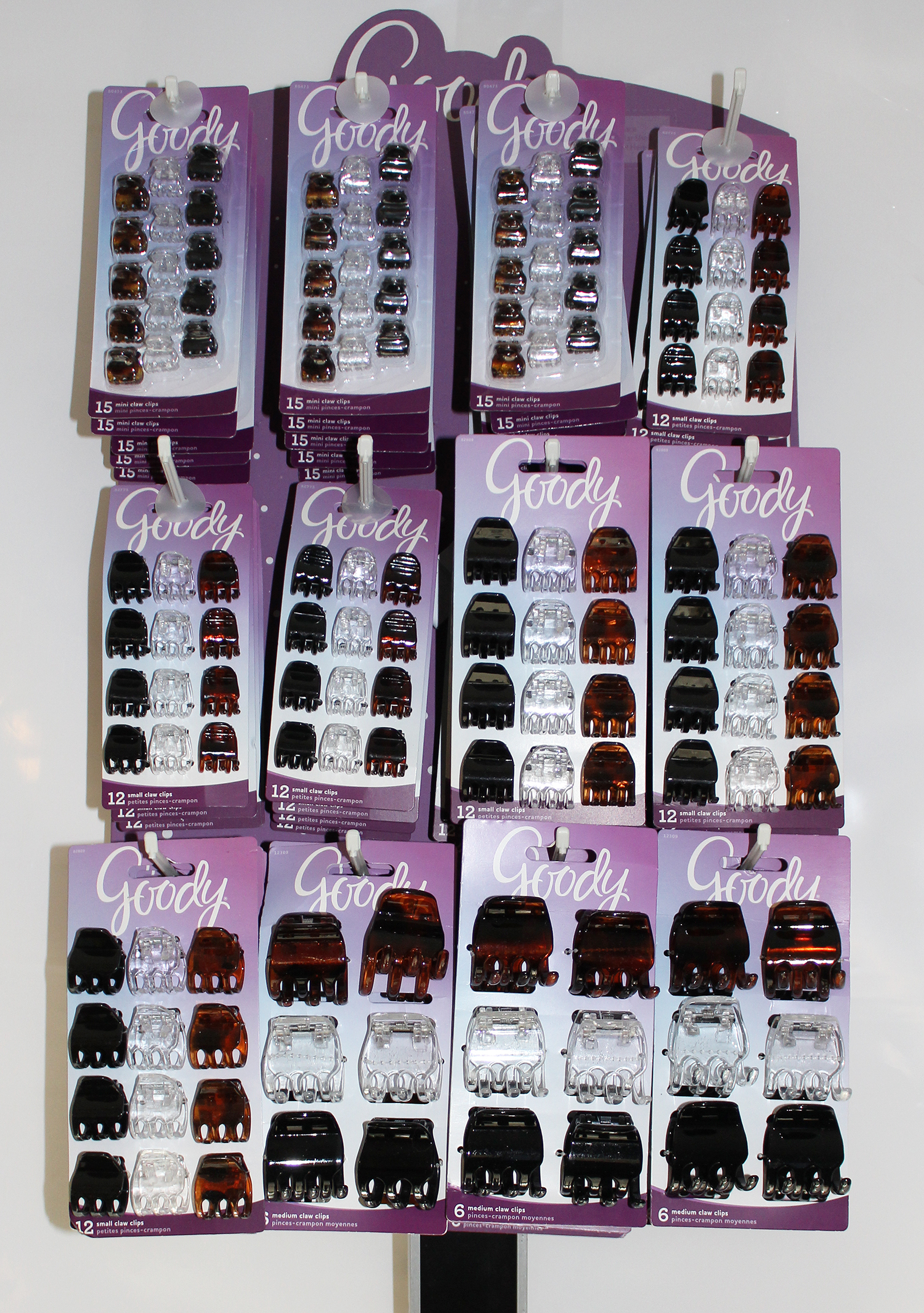 Goody Claw Clips Half Side Rack Display - 48 Packs