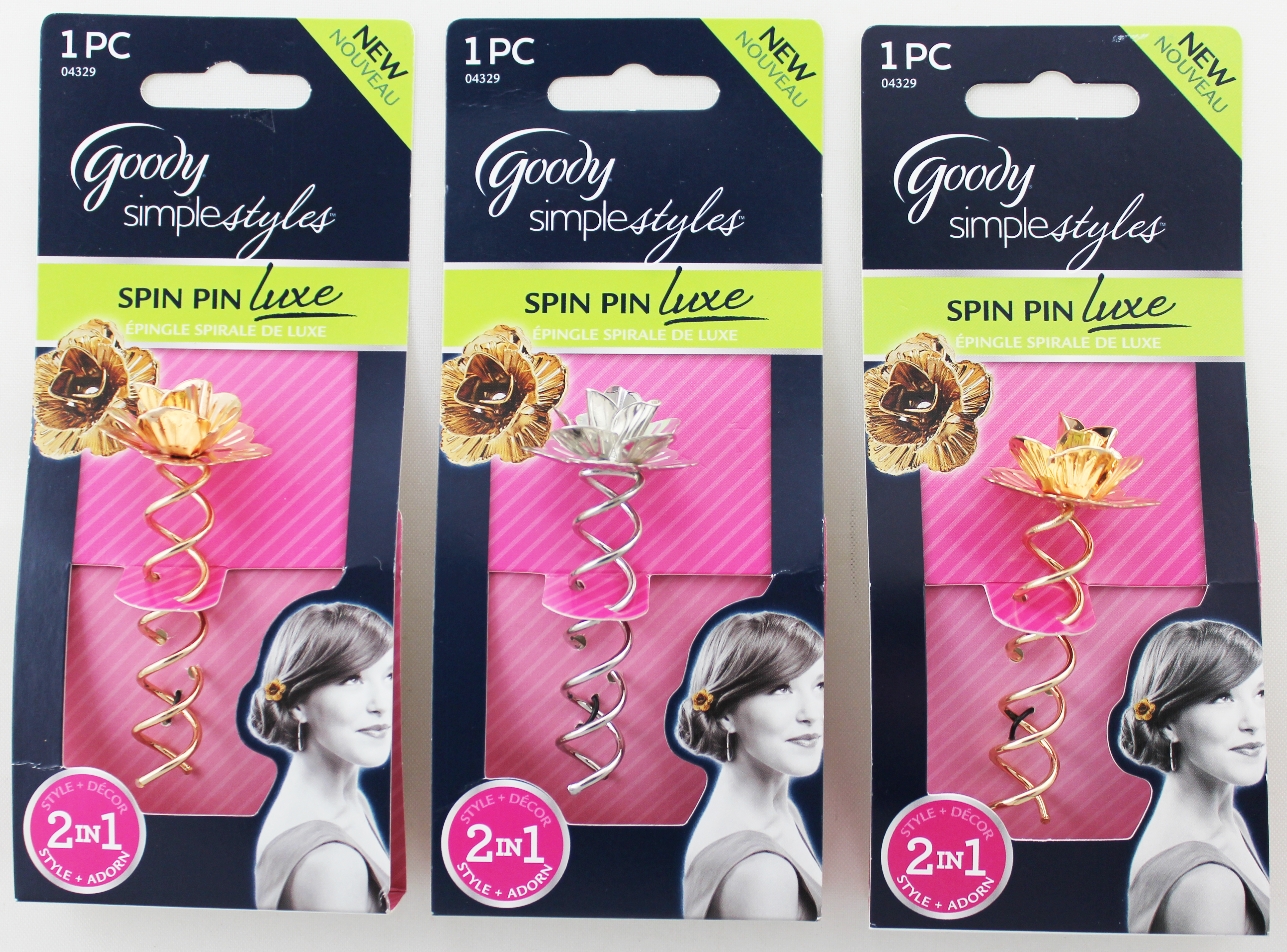 Goody Simple Styles Gold & Silver Spin Pin Luxe 2in1 - 1 Count