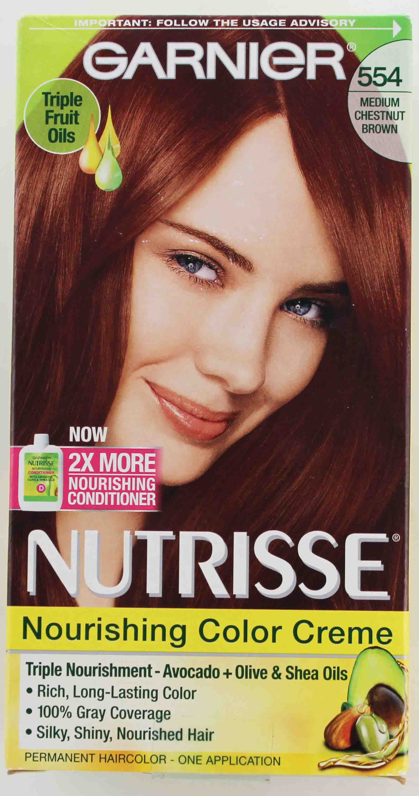 Garnier Nutrisse Nourishing Color Creme, 554 Medium Chestnut Brown