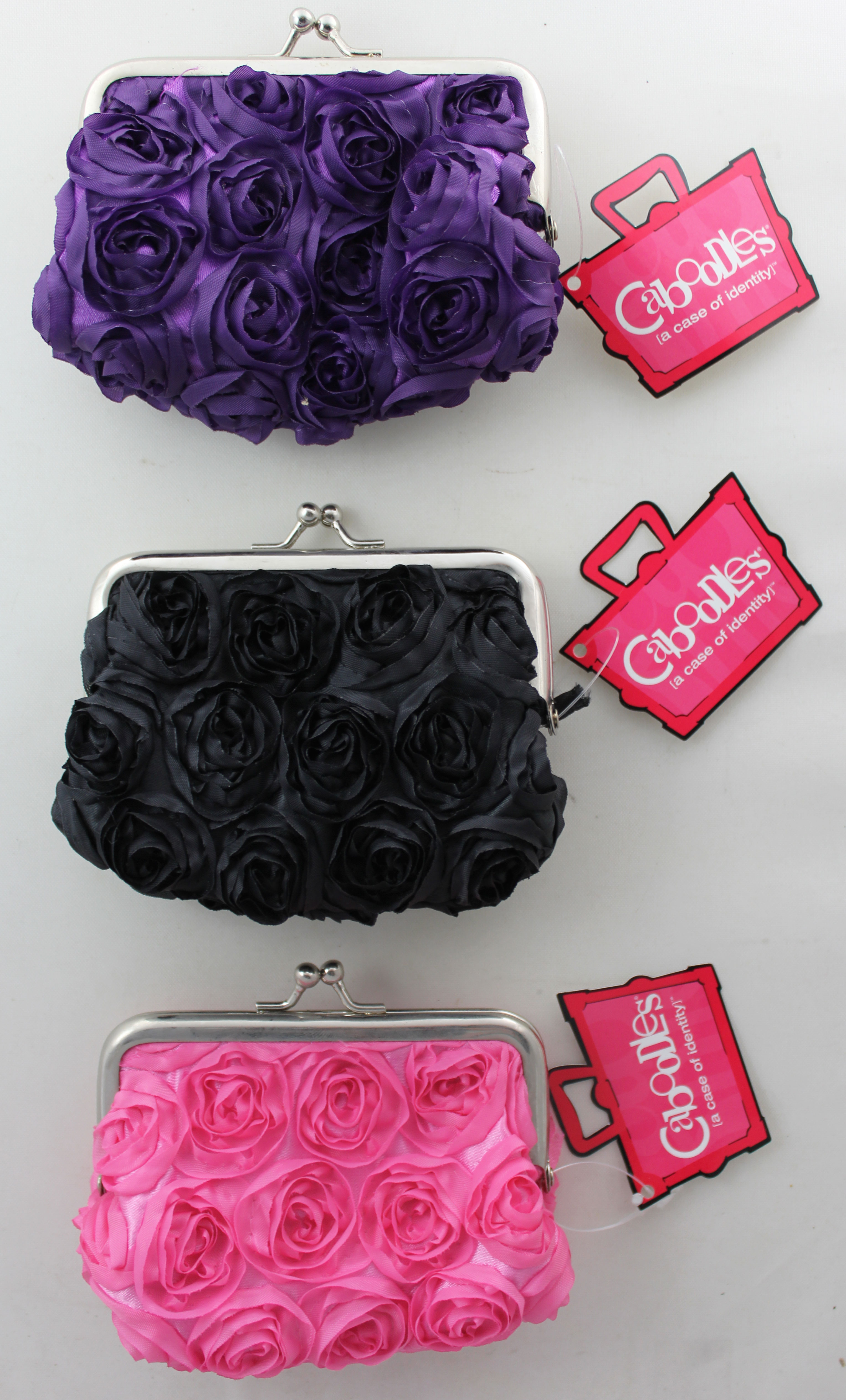 Caboodles MINI PIXIE COIN TRAVEL COSMETIC PURSE ROSE FLOWER FABRIC