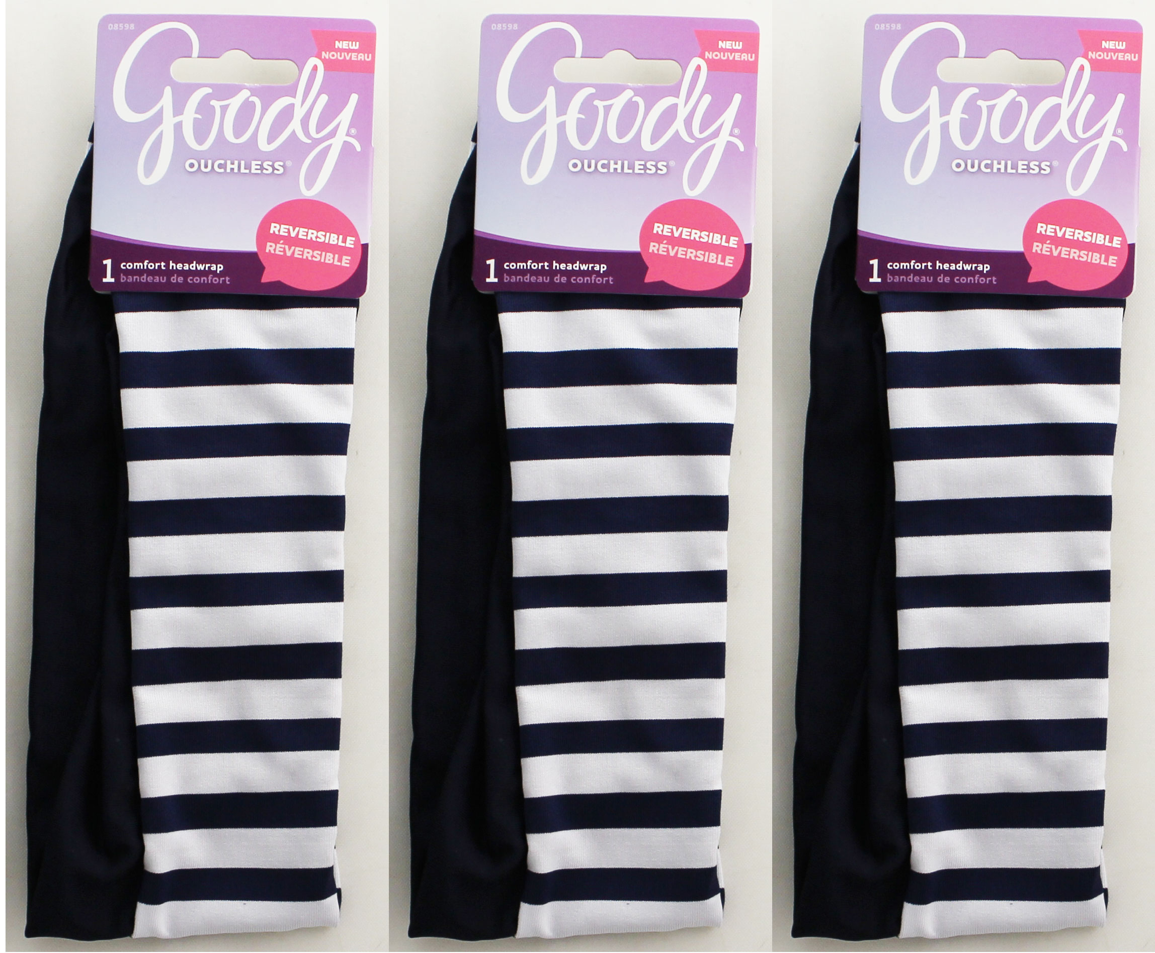 Goody Ouchless Super Comfy Headwrap Wide Nautical Stripe/Navy Reversible 1ct