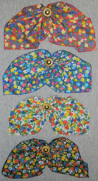 ♥ Fabric Floral Pattern Hair Bow w/Glitter, 9332, 12Pcs/Or