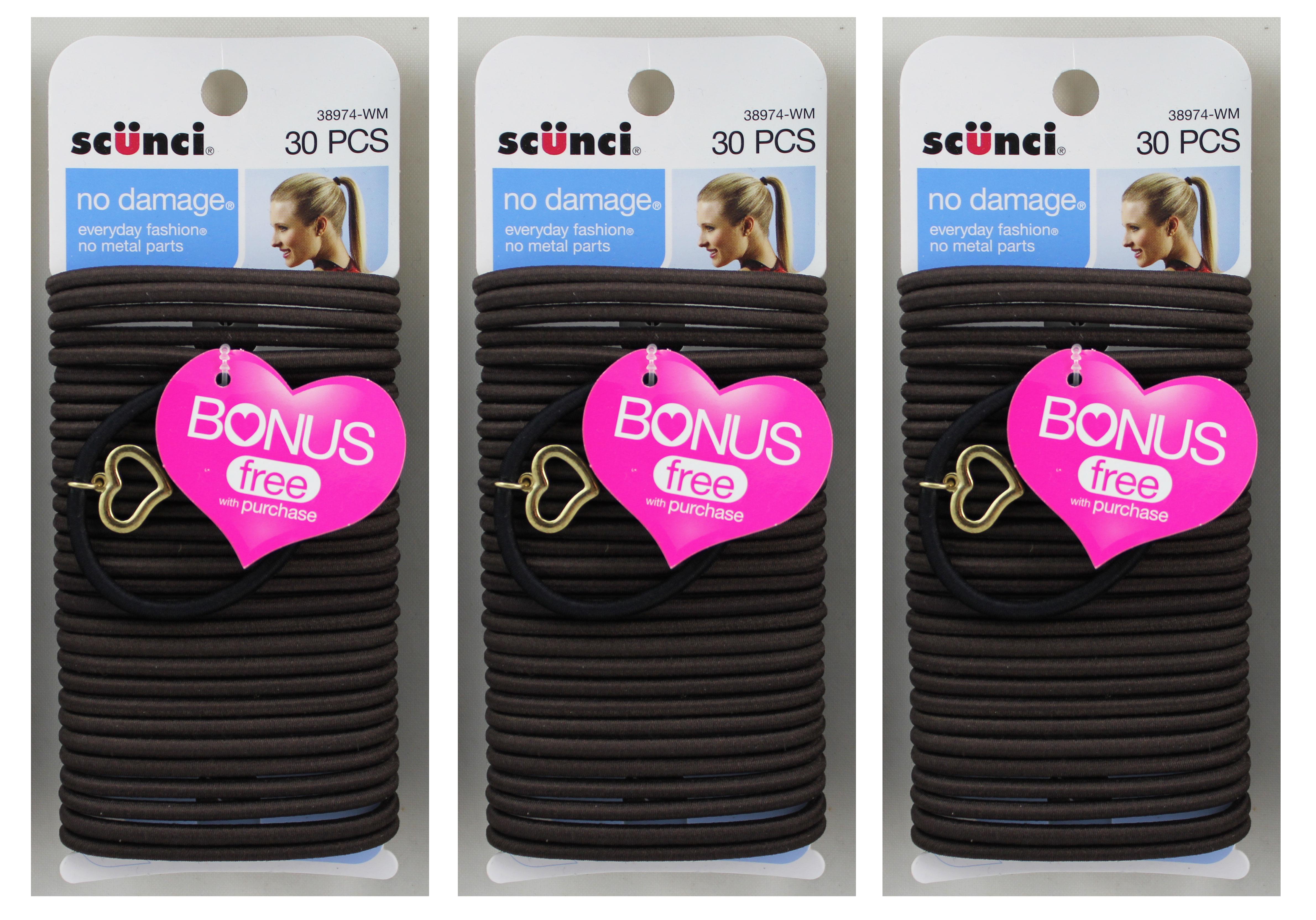 Scunci No Damage Everyday Fashion Elastics Brown 30ct