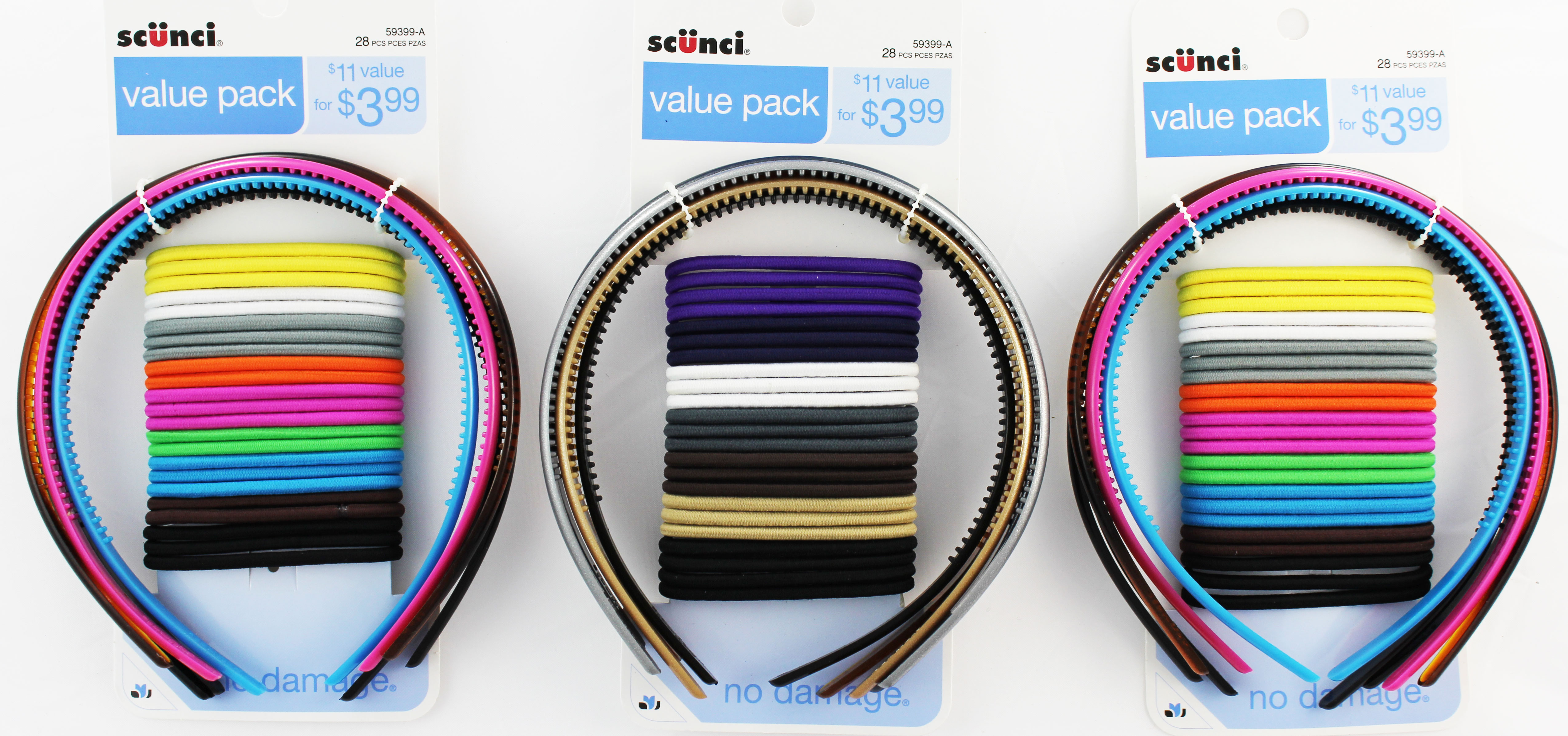 Scunci Value Pack No Damage Headband/Elastic Multi-Pack 28ct