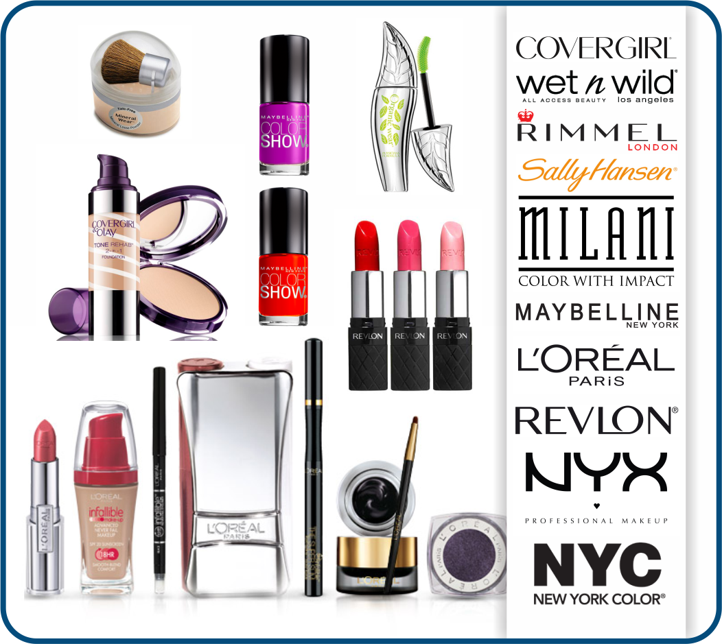 Brand Name Cosmetics Mix Heavy on Maybelline, Loreal, and Sally Hansen
