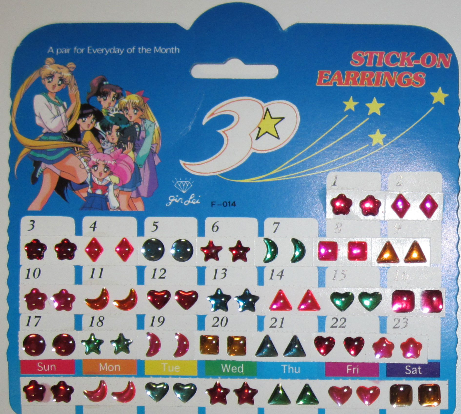 Stick-On Earrings, A Pair for Everyday of the Month, 30 Pairs