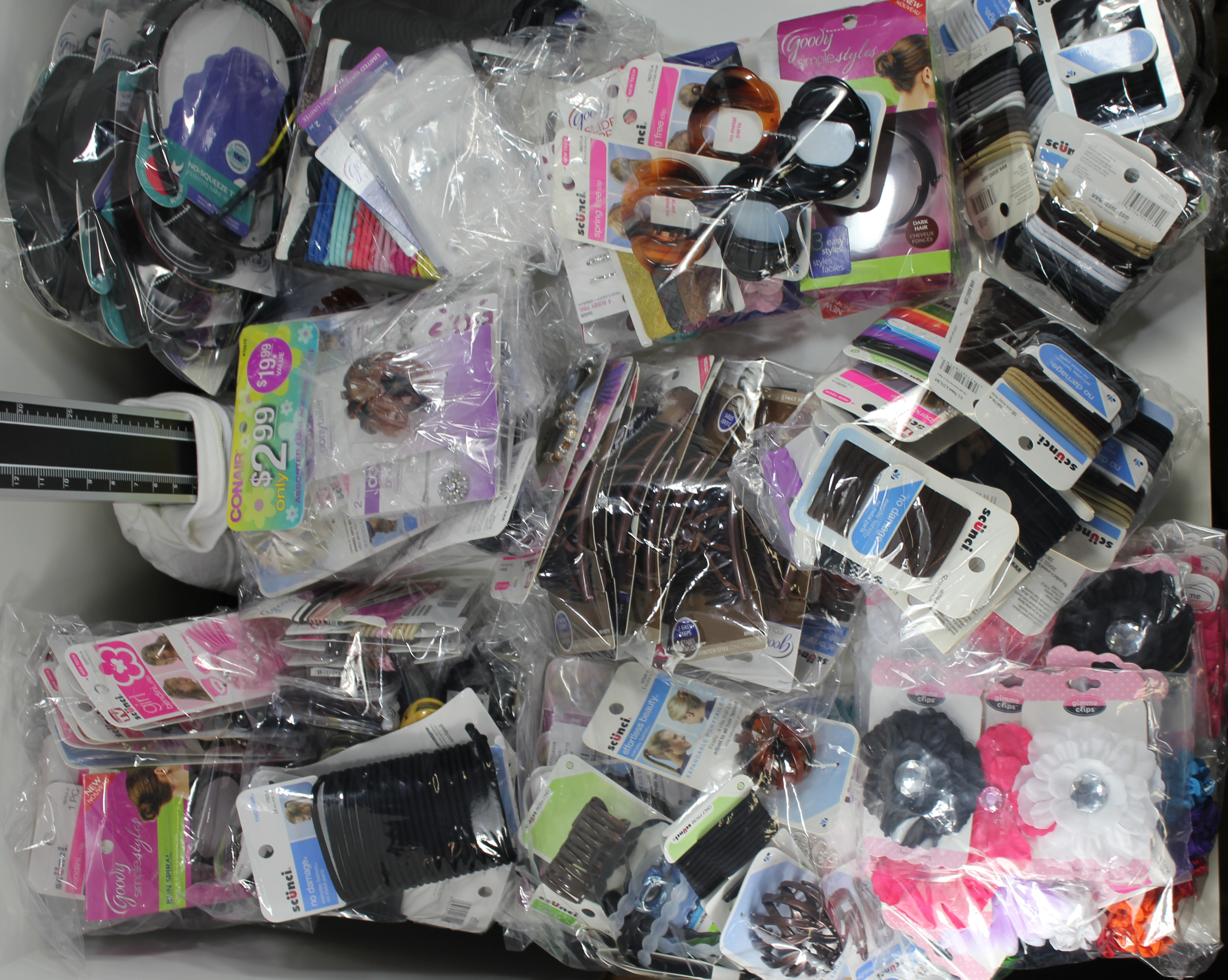 250 units Brand Name Hair Accessory Mix-Revlon, Goody, Scunci, Conair, Vidal Sassoon, Karina