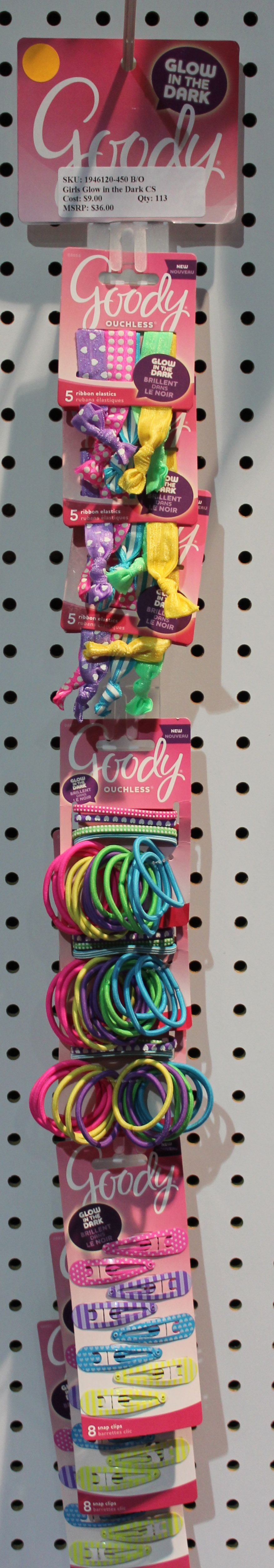Glow in the dark Goody hair accessories 9 pack clip strip