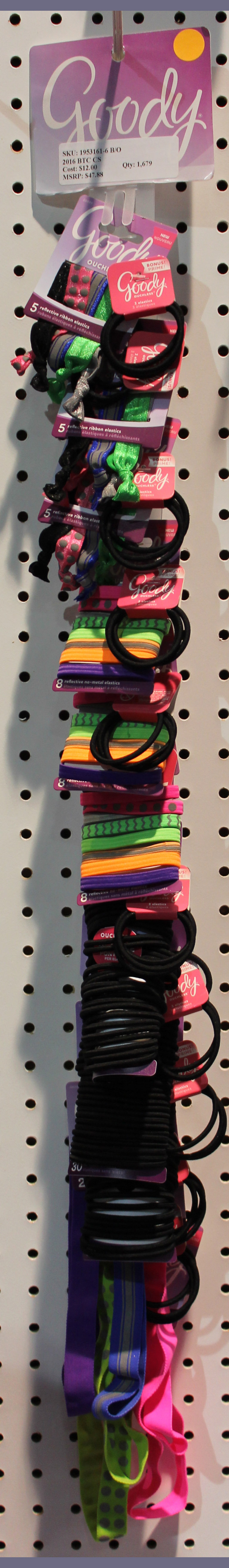 Goody Elastics and Headwrap Clip Strip of 12 Items