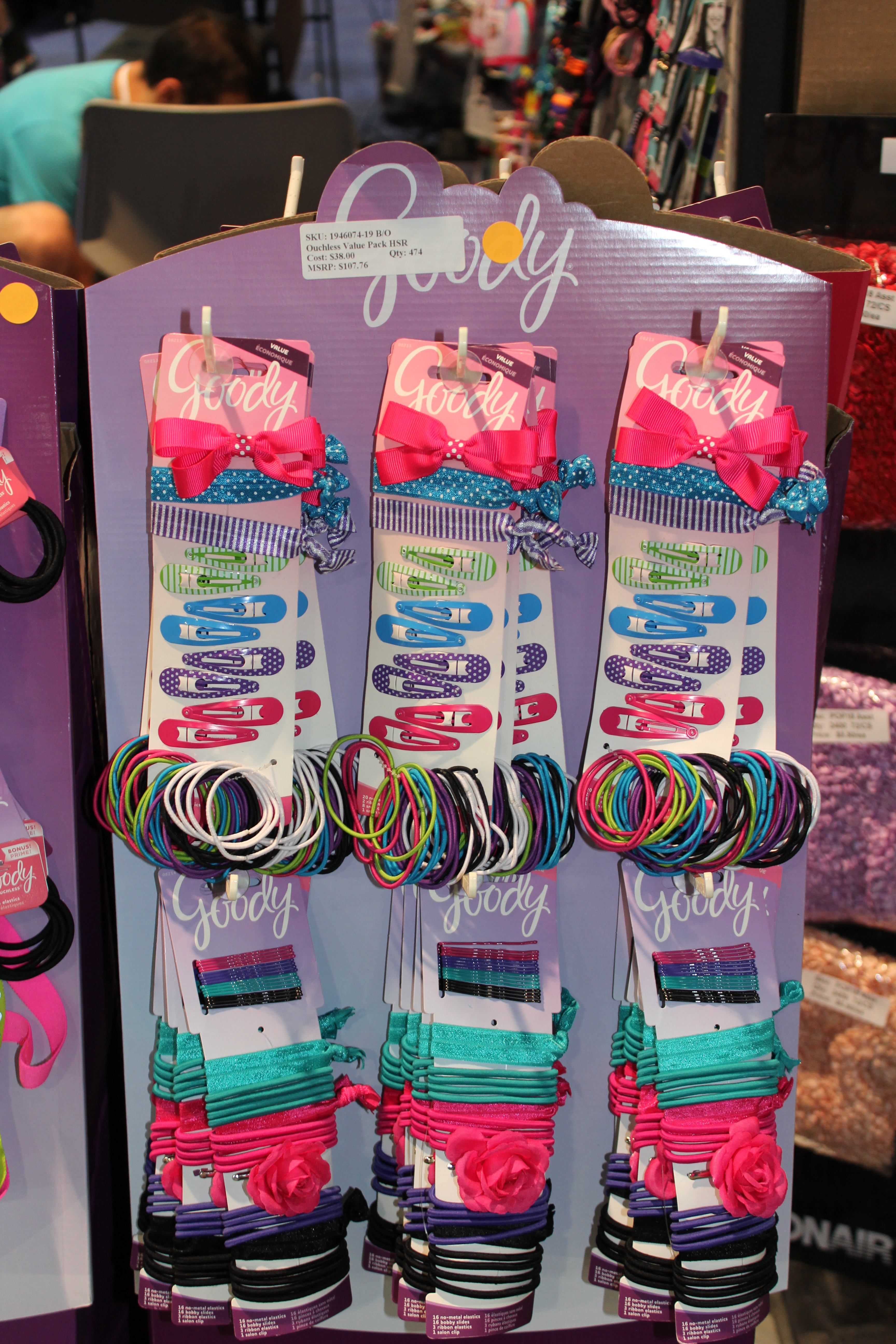 Goody Jumbo Mega Pack Hair Accessory Half Side Rack Display of 24 Items
