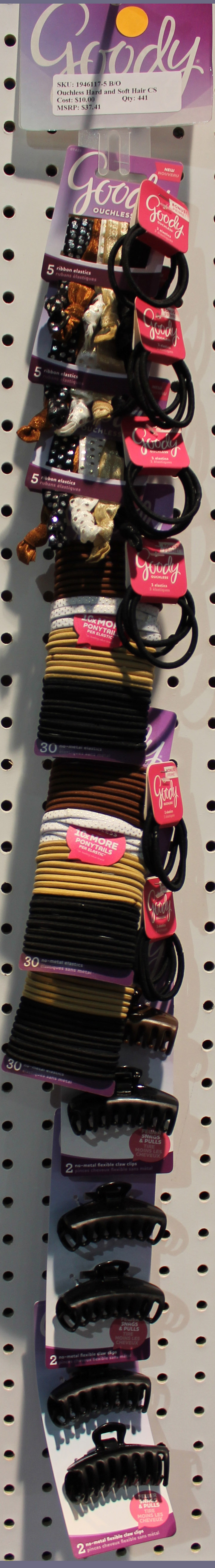 Goody Elastics and Jaw Clip Clip Strip of 9 Items