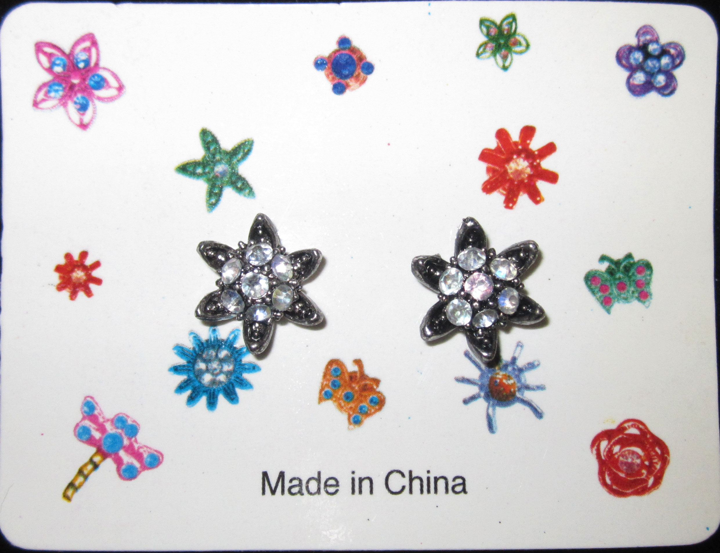Floral Metal Hair Snap Button w/Clear Gems, 24Pcs/Order