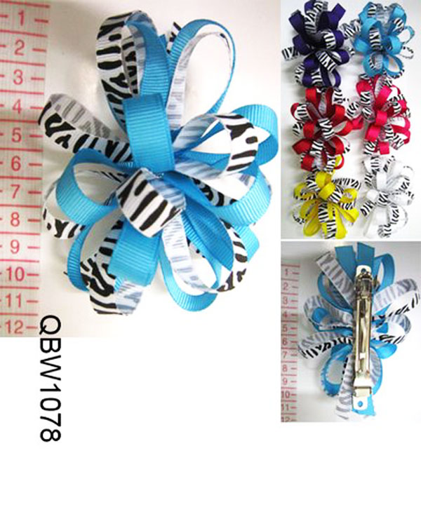 ♥ Go Green Zebra Print Voluminous Hair Bow, QBW1078,12P