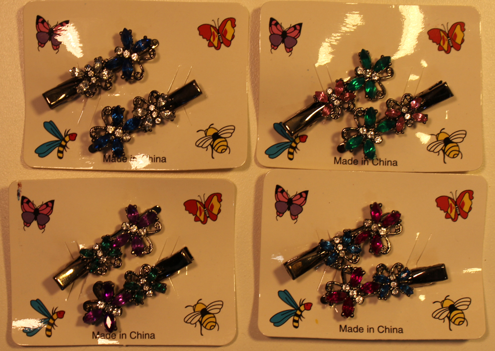 bd025 Dual Rhinestone Butterfly Alligator Clips