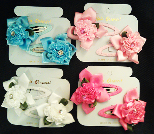♥ Silky Floral Snap Clips w/Gem, 24 Pcs/Order