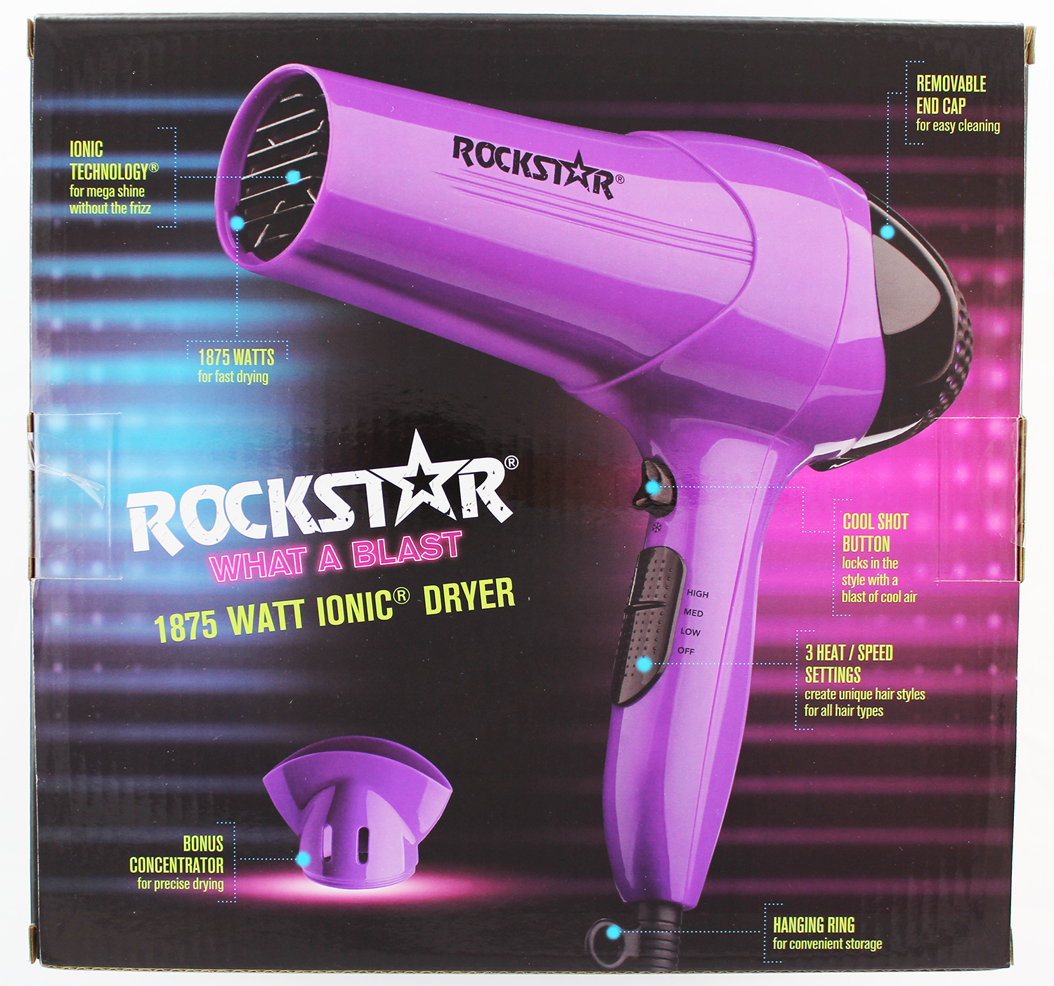 Rock Star 1875W Frizz Control Hair Dryer 097954456205