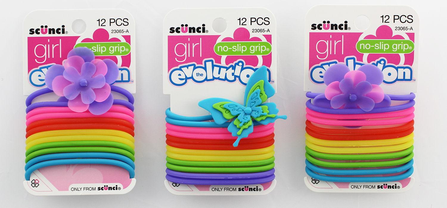 Scunci Girl EVOLUTION No-Slip Grip Jelly Ponytail Holders 12 Ct