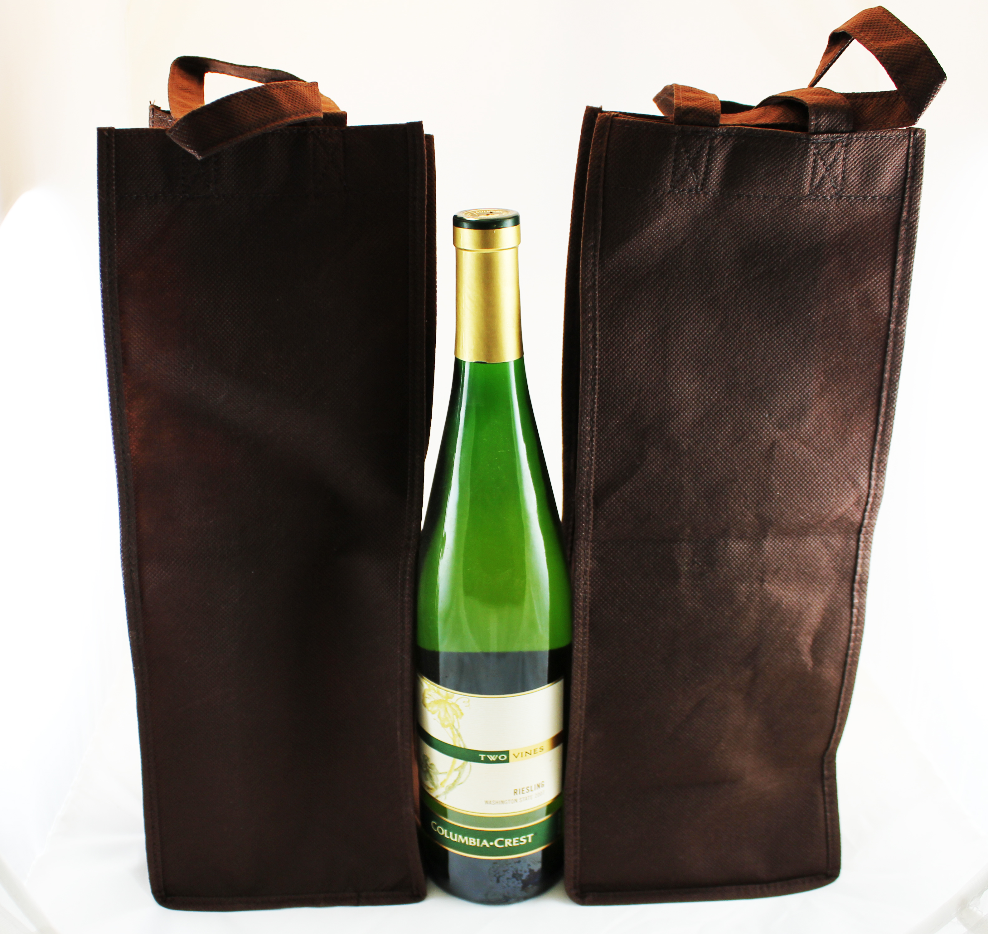 Brown wine totes with handles and pocket for bottle opener